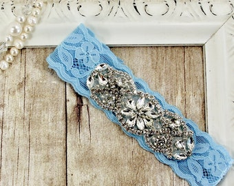 No Slip Garter, Perfect fit stretch lace bridal garters for wedding or prom. Customizable and personalized garter. Several colors available.