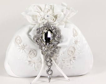White Charmeuse Silk Money Dance Bag w/Stunning Swarovski Crystal Accent. Drawstring handles make dancing easy and big enough to hold cards!