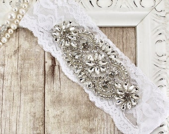 Garter. Hand dyed lace, no slip garter that can be monogrammed. Bridal garter available in several colors. Perfect bridal shower gift