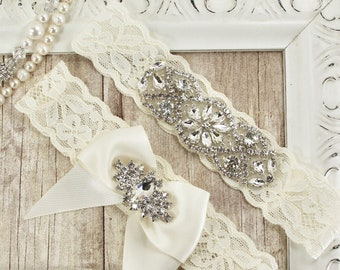 Garter, Wedding Garter, NO SLIP Lace Wedding Garter Set, bridal garter set, Vintage Wedding Garter Set, Bridal Garter Ivory #A00BSR1