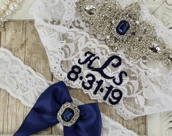 Lace garters that can be monogrammed. Vintage bridal lingerie w/ customizable options. No slip garters for wedding or prom Style No. A1LBG