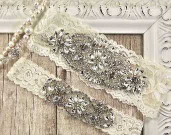 Wedding garter set, Monogrammed garter, Customizable NO SLIP garter, bridal garter set, bridal shower gift, garters for wedding or prom