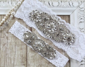 NO Slip wedding garter set. Bridal Garter. Personalized Garters for wedding or prom. Handmade wedding garters, bridal lingerie Style A1C01