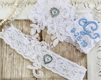 Lace garters that can be monogrammed. Vintage wedding garter w/ customizable options. No slip garters for wedding or prom Style No. B1ABLP1