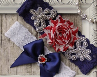 Patriotic Wedding Garter Set, 4th of July Garter, Customizable Bridal Garter set. Several choices available. No slip & personalized garters.