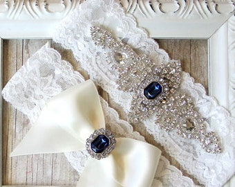 "Wedding Garter - Vintage Garter Set w/ ""Sapphires"" and Rhinestones on Comfortable Lace, Wedding Garter Set, Crystal Garter Set"