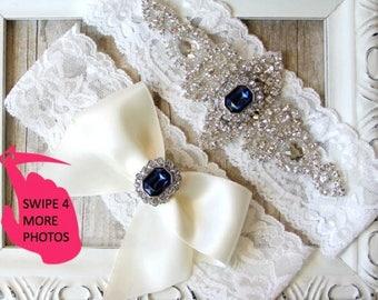Wedding Garter set - Customizable Wedding Garter Set w/Crystals & gemstone on soft stretch lace, No Slip Garters, Personalized gift set