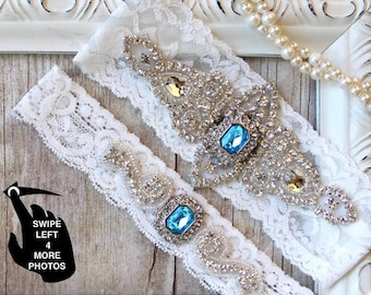 Gorgeous garter belt! Garters for wedding or prom. Custom wedding garter that can be monogrammed. Change colors of gemstones and lace.