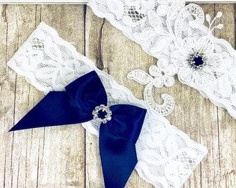 Wedding Garter, NO SLIP Lace Wedding Garter Set. Monogrammed garters for wedding or prom. Bridal shower gift Style No. WLB133