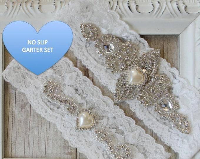 Featured listing image: Wedding Garter, NO SLIP Garter Set, bridal garter set, vintage rhinestones, bridal shower gift, gift for her A01B-A02B
