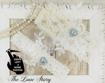 Wedding garter set, NO SLIP garter, blue wedding garter, bridal garter set, bridal shower gift for her, garter belt, lace wedding garter