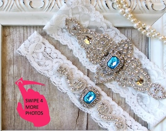 Garter Set - Wedding Garter w/ toss - Turquoise Blue Garter, Something Blue, Crystal Garters, Bridal Garter, Rhinestone