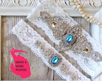 No slip garter. Garter Set - Wedding Garter w/ toss - Turquoise Blue Garter, Something Blue, Crystal Garters, Bridal Garter, Rhinestone