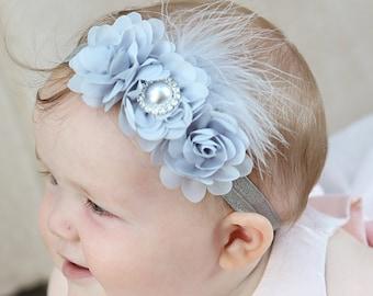 Headband, Grey headband, Baby headband flower, baby headwraps, Elastic headband, Newborn headband, Easter Headband, baby girl headband.