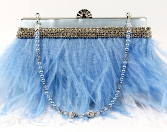 Vintage Baby blue satin wristlet clutch purse made with exquisite ostrich feathers & a Crystal Pearl Handle/Necklace for wedding or prom