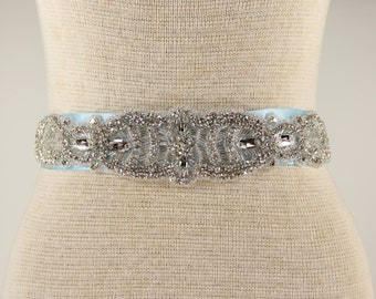 Bridal Sash - Wedding Dress Sash Belt - Baby Blue Rhinestone Crystal Wedding Sash - Baby Blue Bridal Sash - Flower girl Sash