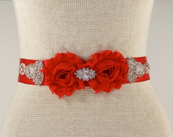 Bridal Sash - Wedding Dress Sash Belt - Red Rhinestone Crystal Wedding Sash - Red Rhinestone Bridal Sash - Flower girl sash