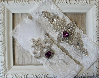 "Wedding garter set - No slip garter, Customizable Vintage Garter Set w/ ""Amethysts"" & Rhinestones on Comfortable Lace, Wedding lingerie"