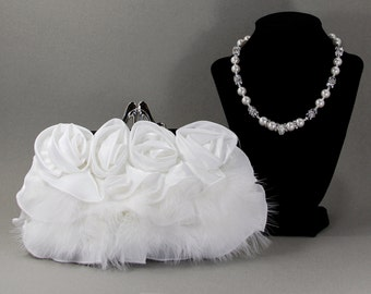 White Purse, Bridal Purse, Wedding,White Bridal Clutch w/ Swarovski Pearls,Pave & Swarovski Crystal Necklace/Purse Handle,White Evening Bag