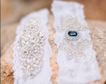 Wedding garter set - CUSTOMIZE Your No Slip Wedding Garter Set, Stretch Lace Garter, Rhinestone Crystal Bridal Garter, Something Blue, Prom