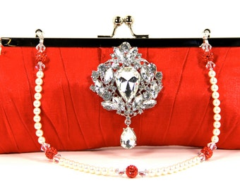 Red Satin Wristlet Clutch Purse and Necklace with Gorgeous Swarovski Crystal Pearl Purse Handle that can also be worn as a necklace.