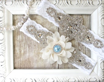 Wedding garter set - Custom Wedding Garters - Baby Blue Garter, Something Blue, Crystal Garters, Bridal Garter, Prom, Wedding dress