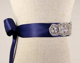 ON SALE Bridal Sash - Wedding Dress Sash Belt - Royal Blue Rhinestone Crystal Wedding Sash - Royal Blue Bridal Sash - Flower girl Sash - Pro