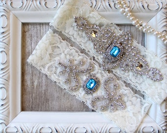 Wedding Garter Set, Customizable Bridal Garter Set, Vintage Wedding, Lace Garter, Personalized garter - Style 001 A