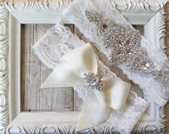 No Slip Bridal Garter Set - Vintage Wedding Garter Set w/ Rhinestones on Comfortable Lace, Bridal Garter Set, Several Colors To Choose From.