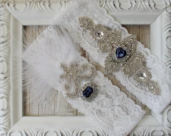 "Garter w/ toss - Vintage Garter Set w/ ""Diamonds"" and Rhinestones on Comfortable Lace, Wedding Garter Set, Crystal Garter Set"