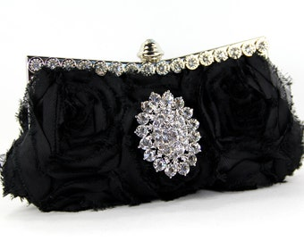 Black Purse, Purses & Bags, Black evening bag w/ stunning Swarovski Crystal Accent, Little black bag, black dress,