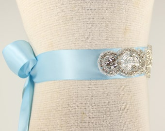 Bridal Sash - Wedding Dress Sash, Baby Blue Sash, bride to be sash, flowergirl sash, satin sash, bachelorette sash, bachelorette party sash