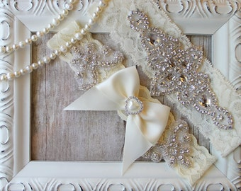 "Wedding garter - Garter Set w/ ""Pearls"" and Rhinestones, Wedding Garter Set, Crystal Garter, Something Blue, Personalized garter, customized"