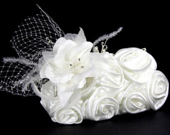 Ivory satin wristlet clutch purse w/ Exquisite Silk Flower & Crystal Accent, Bridal Purse, Satin Clutch, Purse for prom.