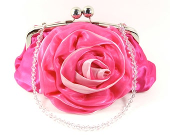 Pink Satin Wristlet Clutch Purse with a Swarovski Crystal Purse Handle that can also be worn as a Necklace. Pink Purse for prom