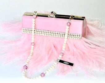 Baby Pink Ostrich Feather Bridal Purse with Swarovski & Pave' Crystal with Freshwater Pearl Handle