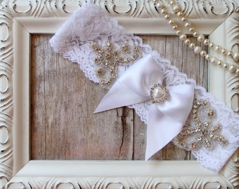 Wedding garter - Personalized Vintage Garter w/ Pearls and Rhinestones on Comfortable Lace, Wedding Garter, Toss Garter, garters for wedding