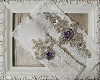 Wedding garter - Customizable Garter Set w/gemstones & Rhinestones on Comfortable Lace, Bridal Garter Set, Wedding dress, Prom gift for her