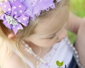 Lavender Baby headband, Baby headbands, purple feather headband,baptism headband, Christening headband, Easter Headband ,baby girl headband.
