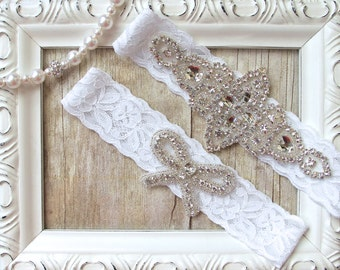 No slip garter. Crystal Garter Set - Customizable Wedding Garter w/ toss - Crystal Garters, Bridal Garter, Rhinestone Garter
