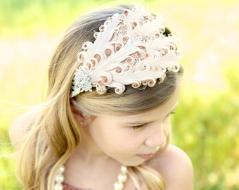 Baby headband, Baby headbands, white feather headband, baptism headband, Flapper headband, Easter Headband ,baby girl headband, Halloween