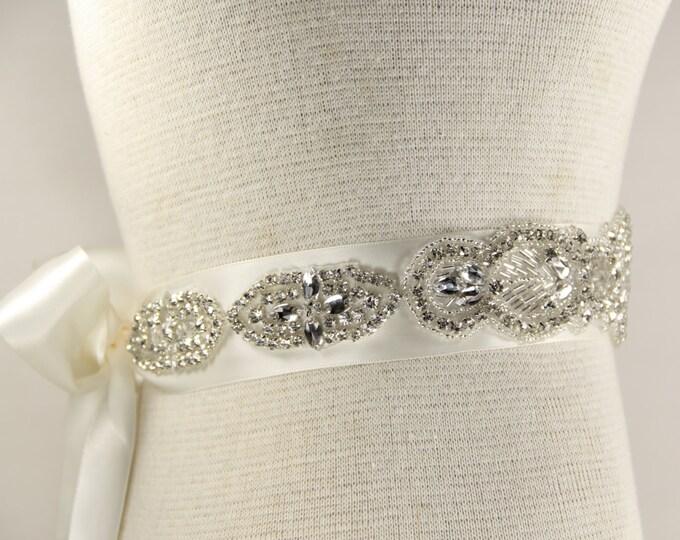 Featured listing image: Bridal Sash - Wedding Dresses, Sash Belt - White Satin wedding dress belt, White Bridal Sash, Bride Sash, Prom dress, wedding dress