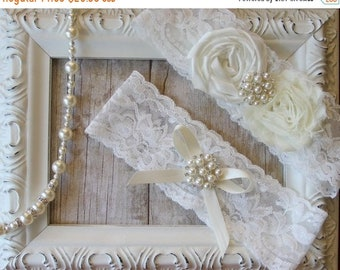 ON SALE Wedding Garter Set with an Ivory Flower on Comfortable Ivory Lace w/ Pearls & Rhinestones, wedding garter set, wedding dress, custom