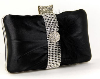Wristlet Clutch Purse, Black Satin Bag w/ Rhinestones and Marabou Feathers, Black Purse, evening bag, black, little black dress