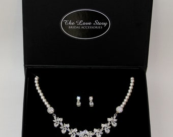 Necklace Set - Stunning Cubic Zerconia & Swarovski Crystal Pearl Necklace Set, Pearl Necklace, Cubic Zerconia Necklace Set, Bridal Jewelry