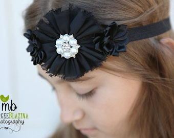 Headband, Black headband, Baby headband, flower headband, customizable headband to show school spirit, baby girl headband, .