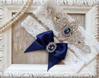 "BRIDAL GARTER - Vintage Wedding Garter Set w/Toss -  ""Sapphires"" and Rhinestones on Comfortable Lace, Bridal Garter Set, Crystal Garter Set"