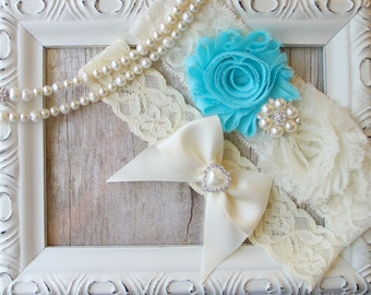 Wedding Garter Set, Customize your Garter w/ Toss ~ Aqua Blue Garter Set, Bridal Garter Set, Something Blue, Lace Garter, Blue Garter,