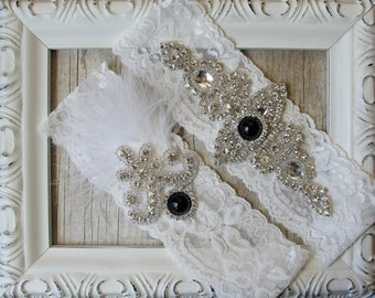 "Wedding garter - Vintage Garter Set w/ Black ""Pearls"" and Rhinestones on Comfortable Lace, Wedding Garter Set, Crystal Garter Set"