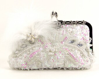 Evening Bag,with Pearl Necklace Baby Pink Feather Bridal Clutch Bridal Clutch